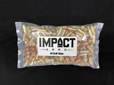 Impact Ammo 40 S&W 180 GrainFlat Point